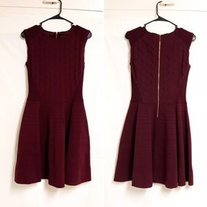 Ted Baker Ribbed Knit Burgundy Midi Dress US 8 (3)